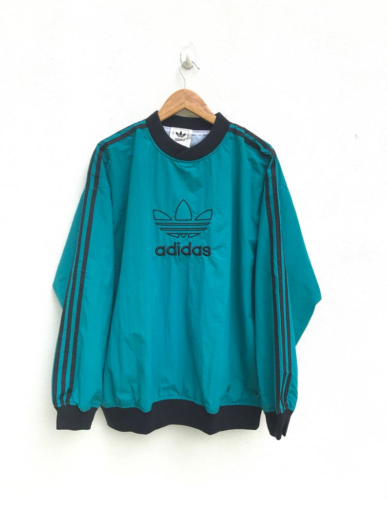 da2ad86e2 Adidas Windbreaker Vintage Adidas Pullover Sweater Jacket Hip | Etsy