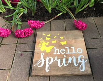 Hello Spring Sign | Handpainted Wooden Sign | Fully Customizable with Your Color Choices | Spring Home Decor | Art with Butterflies