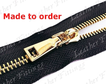 Metal Zipper No. 5 - MADE TO ORDER - 3pcs Black fabric Zippers color 580, Top quality Heavy Duty Purse Handbags Wallets Zip