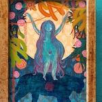 Goddess Durga Moon, Poster. A4 or A5 size . Quality print of an illustration by Monica Moreno Art. Durga riding a tiger.