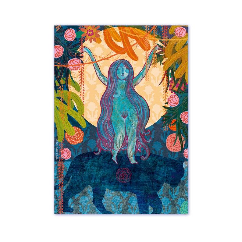 Goddess print goddess Durga riding a tiger altar image 0