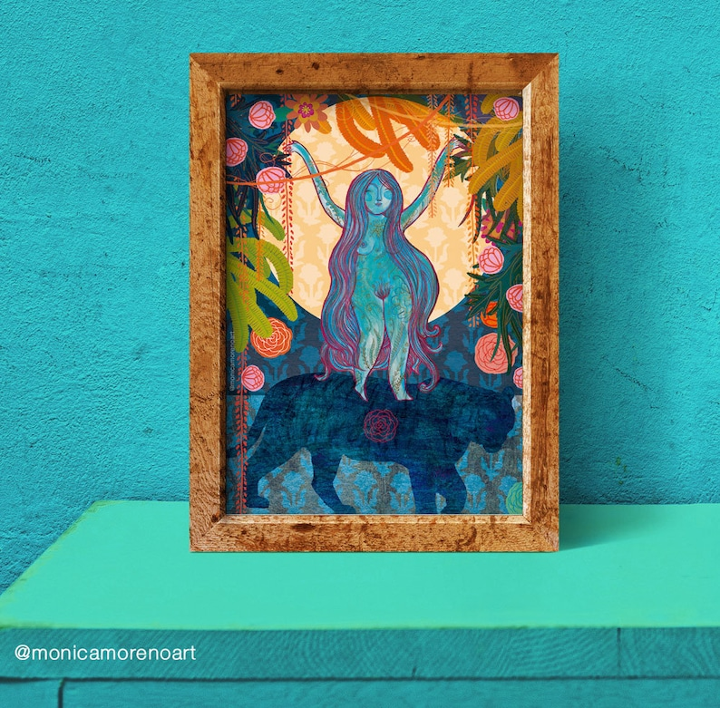 Goddess Durga Moon Poster. A4 or A5 size . Quality print of image 0