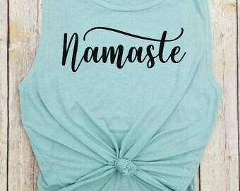 Namaste, yoga tank, Yoga Lover, Yoga Life,  Namaste Shirt, Yoga Clothing, Yoga top, Yoga Gift, Namaste tank top, yogi lover gift, yogi gift