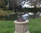 Garden Cast Iron Armillary Sundial Reconstituted Stone Plinth