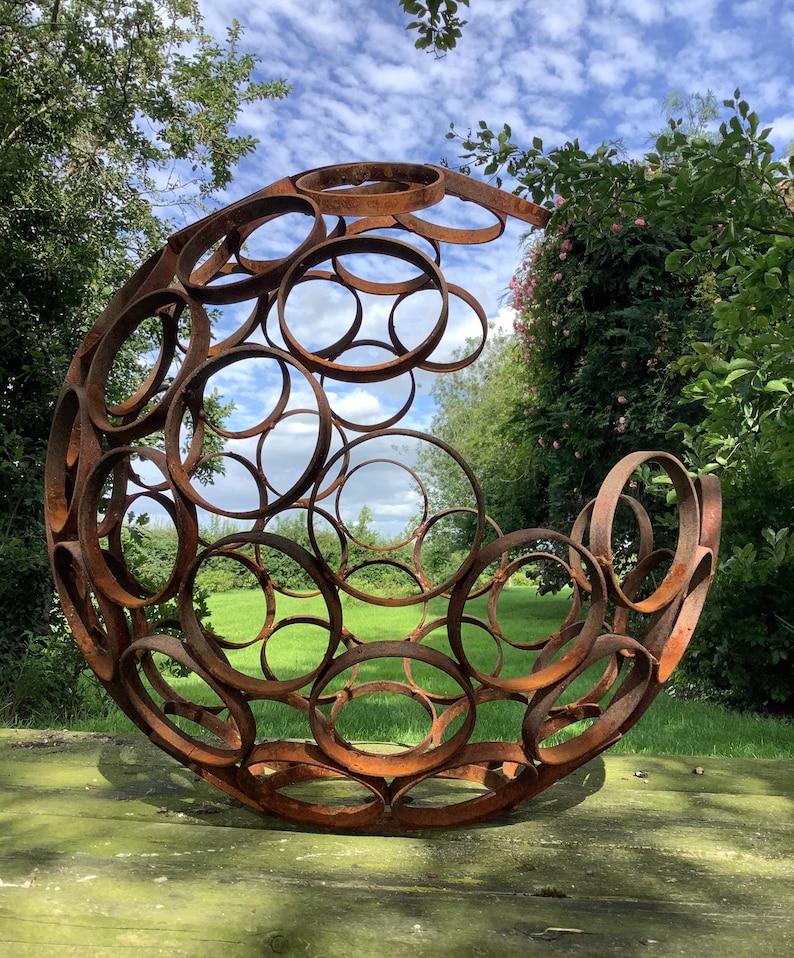 Metal Rusty Garden Modern Art Decorative Open Sphere ...