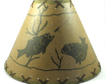 Fish Rustic Lampshade  Double-Laced 14""