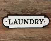 Metal LAUNDRY Room Sign Vintage Antique Style Solid Cast Iron Fold Door Plaque