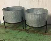 Set Of 2 Silver Galvanized Round Metal Planters On Stand Modern Farmhouse Industrial