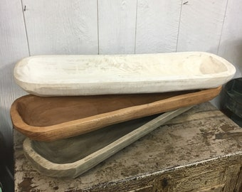 """Large Long Skinny Carved Wooden Dough Bowl Trencher Centerpiece Tray 29""""x9"""" Primitive"""