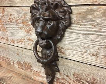 Large Cast Iron Antique Style Rustic LION HEAD Door Knocker Brown Finish Bronze Style