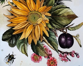 Sunflower and plum with botanicals and bee