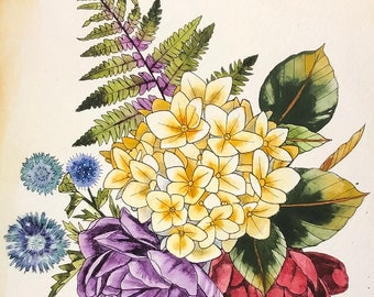 Small Hydrangea with roses, thistle and blubbery