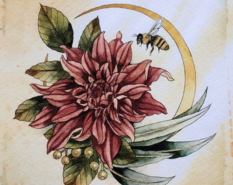 Dahlia with moon and bee