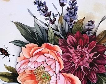 Lavender with Dahlia, peony, bugs
