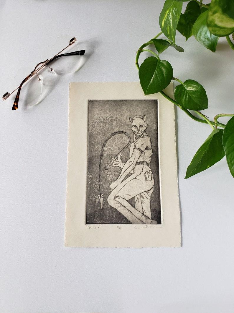 Original Spring Intaglio Print Wall Art Cat Handmade Print Freddie Mercury Illustration Intaglio Print Minimalist Unique Etched Print
