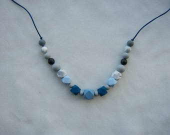Blue toned Silicone Teething Necklace, Chewable Necklace, Chewelry, Baby Chew Necklace, Chewable Beads, Teething Beads