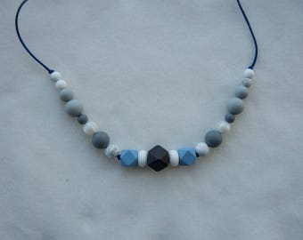 Grey / blue Silicone Teething Necklace, Chewable Necklace, Chewelry, Baby Chew Necklace, Chewable Beads, Teething Beads