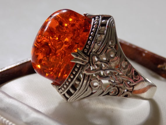 Cognac Baltic Amber 925 Sterling Silver Ring Jewellery