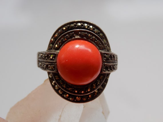 Sterling Silver Art Deco Coral Marcasite Ring | Ar