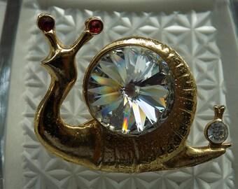 Vintage Snail Sparkling Rhinestone Brooch Pin   Vintage Jewellery   Vintage Jewelry