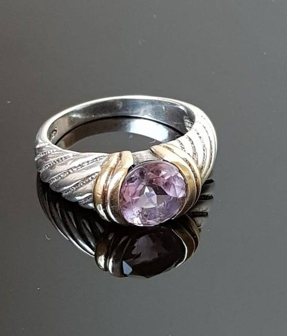 Vintage Sterling Silver Amethyst Ring   Vintage 92
