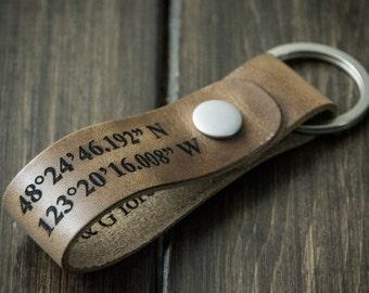 Latitude Longitude Keychain, Personalized Keychain, GPS Coordinates, Leather Key Chain, Custom Coordinates Keychain - Driftwood