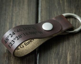 Latitude Longitude Keychain, Personalized Keychain, GPS Coordinates, Leather Key Chain, Custom Coordinates Keychain - Chocolate