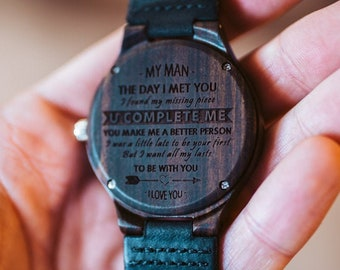 Engraved watch men Anniversary Gifts for Boyfriend Gift Groomsmen Gift Personalized Wood Watch Birthday Gift for Him Custom Watch