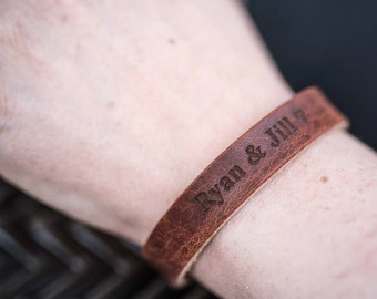 Leather Bracelets for Women, Personalized Bracelet, Leather Bracelet, Custom Cuff Bracelet engraved, Gift for her