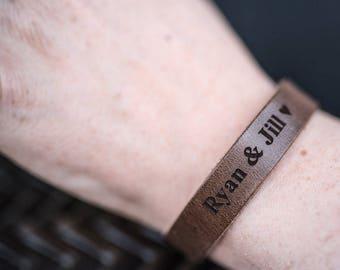 Customized Bracelet, Personalized Bracelet, Leather Bracelet, Custom Cuff Bracelet engraved, Gift for him- Driftwood