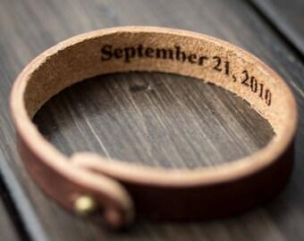 Personalized Bracelet, Leather Bracelet, Custom Cuff Bracelet engraved, Gift for him- English Tan