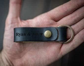 Customized Keychain, Personalized Keychain, Leather Key Chain, Monogram, Anniversary Engraved keychain - Black