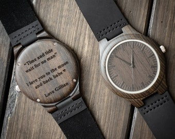 Engraved Wooden Watch for Men Anniversary Gifts for Boyfriend Gift Groomsmen Gift Personalized Wood Watch Birthday Gift for Him Custom Watch