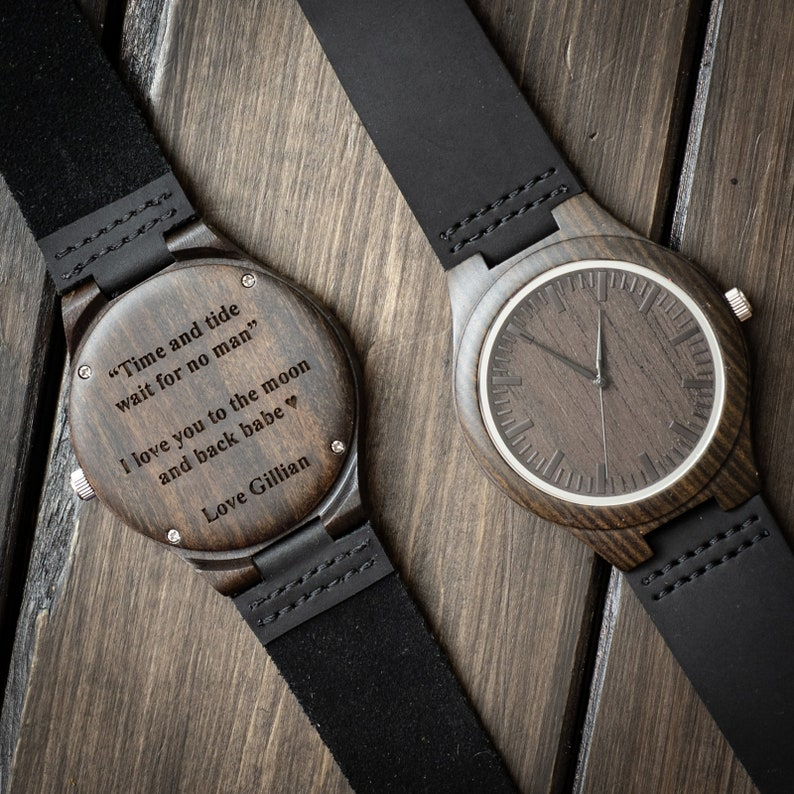 Engraved Wooden Watch for Men Anniversary Gifts for Boyfriend image 0