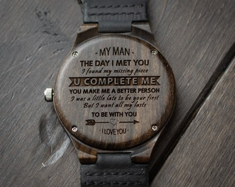 Personalized Wooden Watch for Men Anniversary Gifts for Boyfriend Gift Groomsmen Gift Personalized Wood Watch Birthday Gift for Him