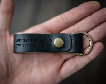 Latitude Longitude Keychain, Personalized Keychain, GPS Coordinates, Leather Key Chain, Custom Coordinates Keychain - Black