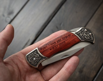 Engraved Pocket Knife Personalized Knives for Men Anniversary Gifts Boyfriend Gift Groomsmen Gift Personalized Wood Custom Knife