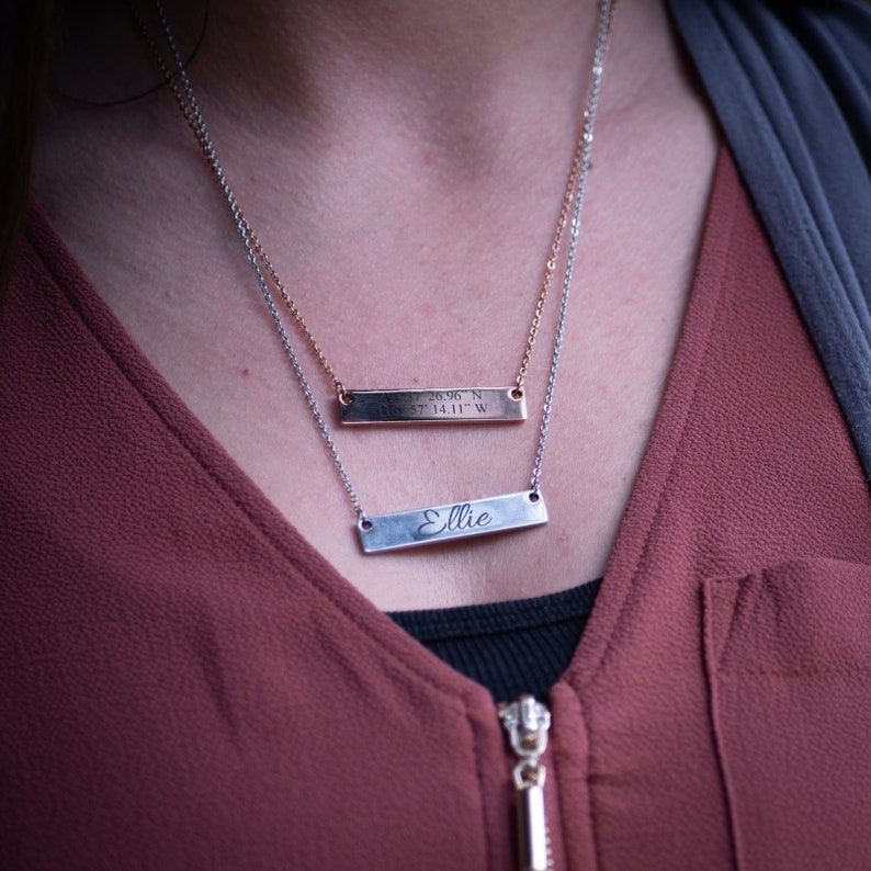 Wedding Personalized Bar Necklace Roman Numeral necklace Bar Necklace Name Necklace Monogram Necklace bridesmaid gift