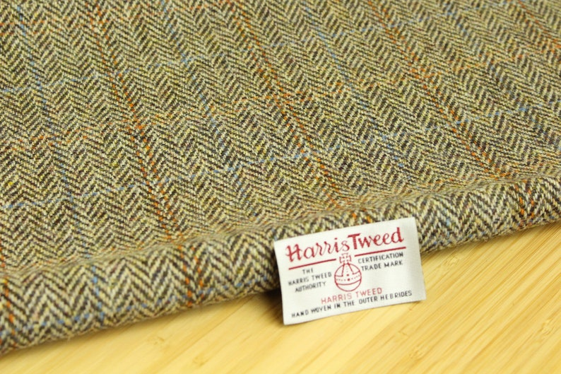 Harris Tweed Blue Grey Check Remnants Offcuts with Label Choice of Sizes