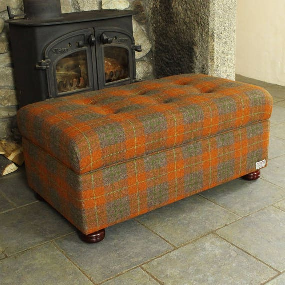 Enjoyable Harris Tweed Ottoman Storage Chest Footstool Box Buttoned Footstool Tweed Ottoman Pouffe Tweed Footstool Coffee Table Tartan Tweed Alphanode Cool Chair Designs And Ideas Alphanodeonline