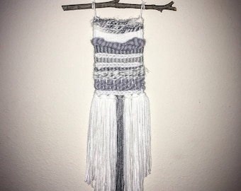 Mini gray/white woven wall hanging