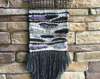 Large gray woven wall hanging