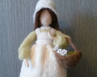 Needle felted standing doll Woman with flowers. Waldorf inspired, wool art doll