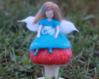 Baby nursery decor Blue Fairy, Waldorf needle felted doll, soft sculpture, girl birthday gift, toy handmade, baby shower decor