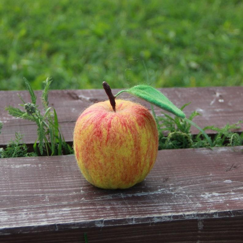autumn fall home decoration needle felted fruit fruit kitchen decor life size red apple Needle felted apple vegan gift