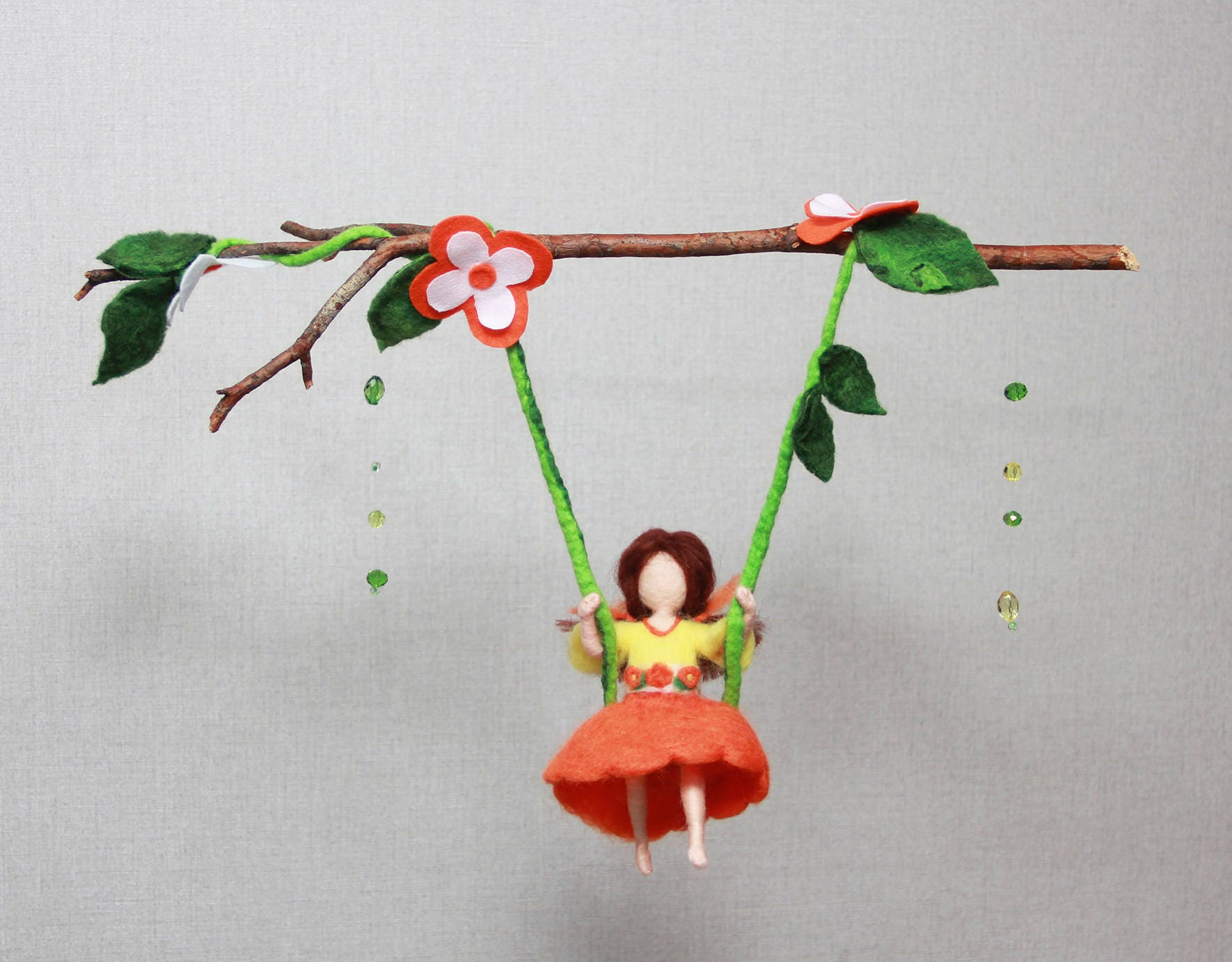 Baby nursery mobile orange fairy girl crib mobile nursery for Orange mobel