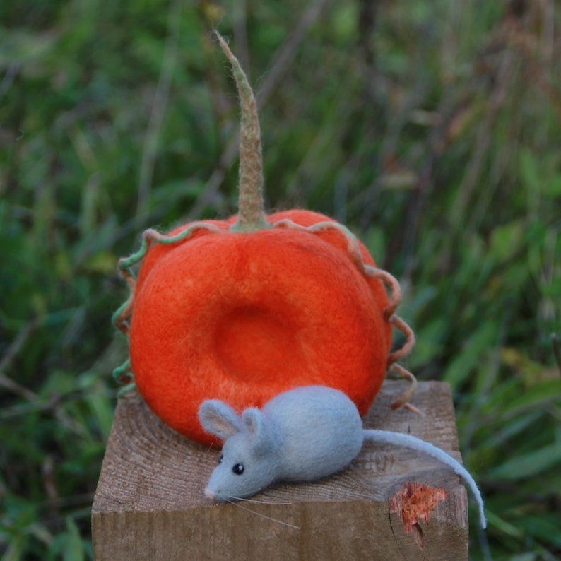 autumn fall decor Halloween home decoration Halloween gift Thanksgiving Needle felted Halloween pumpkin and a mouse needle felted mouse