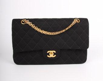 0f907c6b1f4961 Chanel 2.55 Reissue Medium Double Flap Bag Jersey - black