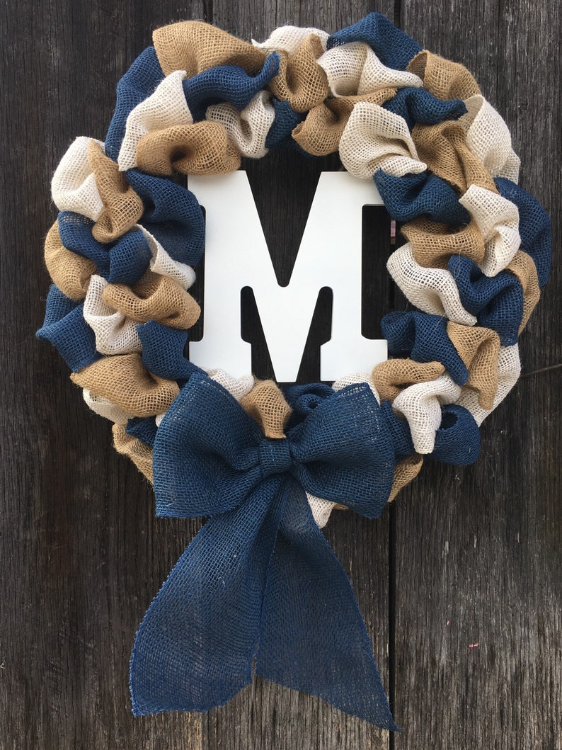 Custom Wreath Personalized Burlap wreath with your choice of colors added to Natural burlap