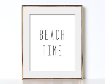 California Wall Art Digital Download Beach Art Black and White Prints California Poster Beach Time Poster Beach Time Prints Instant Download